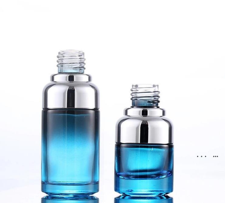 20 ml 40 ml Lüks Cam Damlalık Şişe Benzersiz Serum Şişe Mavi Renk Özel Damlalıklı EWF5456