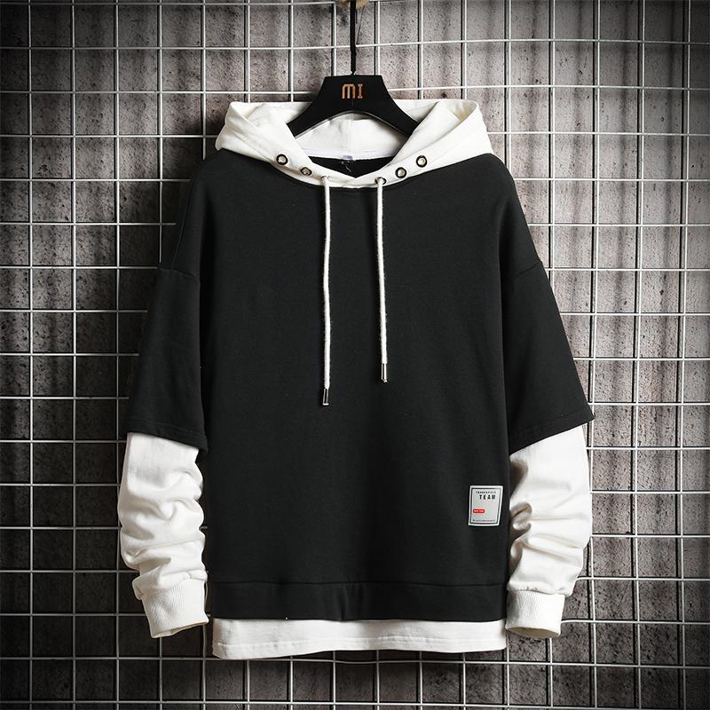 2021 New Fashion Patchwork Hooded Man Hoodies High Quality White Black Gray Men's Sweatshirts 2NI6