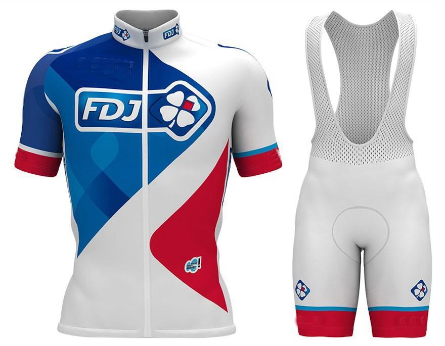 2017 Gruplama FDJ Pro Takım Mavi Kısa Kollu Bisiklet Jersey Yaz Bisiklet Giyim Ropa Ciclismo + Önlüğü Şort 3D Jel Pad Set Boyutu: XS-4XL