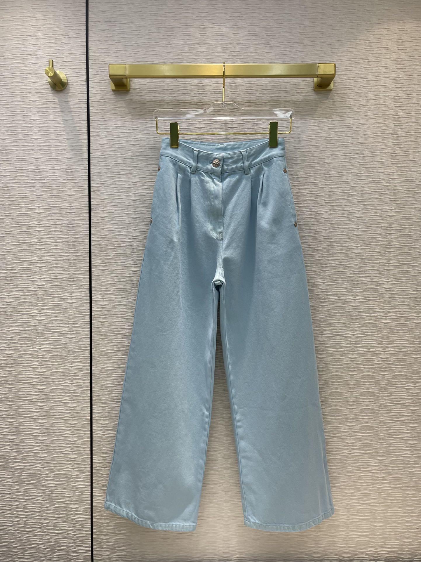 Milan Pist Jeans 2021 Sonbahar Moda Tasarımcısı Geniş Bacak Marka Aynı Stil Lüks Bayan Giyim 0611-3