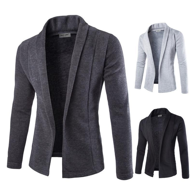 Men's Suits & Blazers Mens Solid Blazer Cardigan Long Sleeve Casual Slim Fit Sweater Jacket Knit Coat VN 68