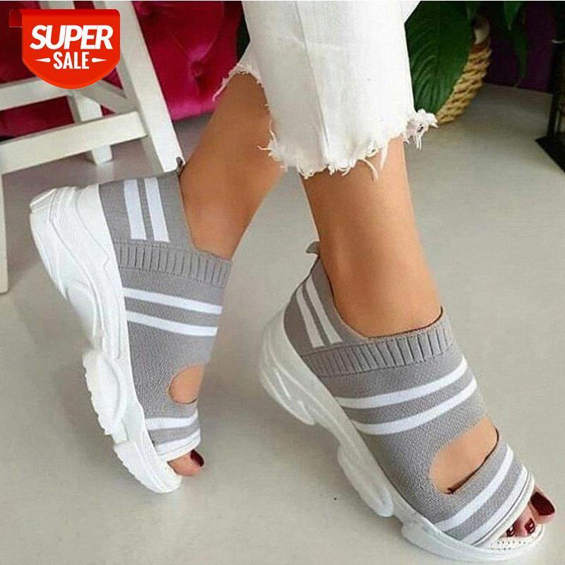 Повседневная обувь для женщин Летние кроссовки Slipp на женских сандалиях 2020 растяжка ткань женской обуви Peep Toe платформа женская обувь # XH5Y
