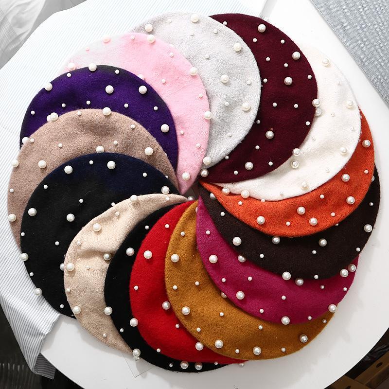 الصوف النساء الشتاء القبعات الفاخرة اللؤلؤ برشام خمر الكشمير الإناث الدافئة قبعة القبعات الفتيات شقة قبعة قبعة للنساء