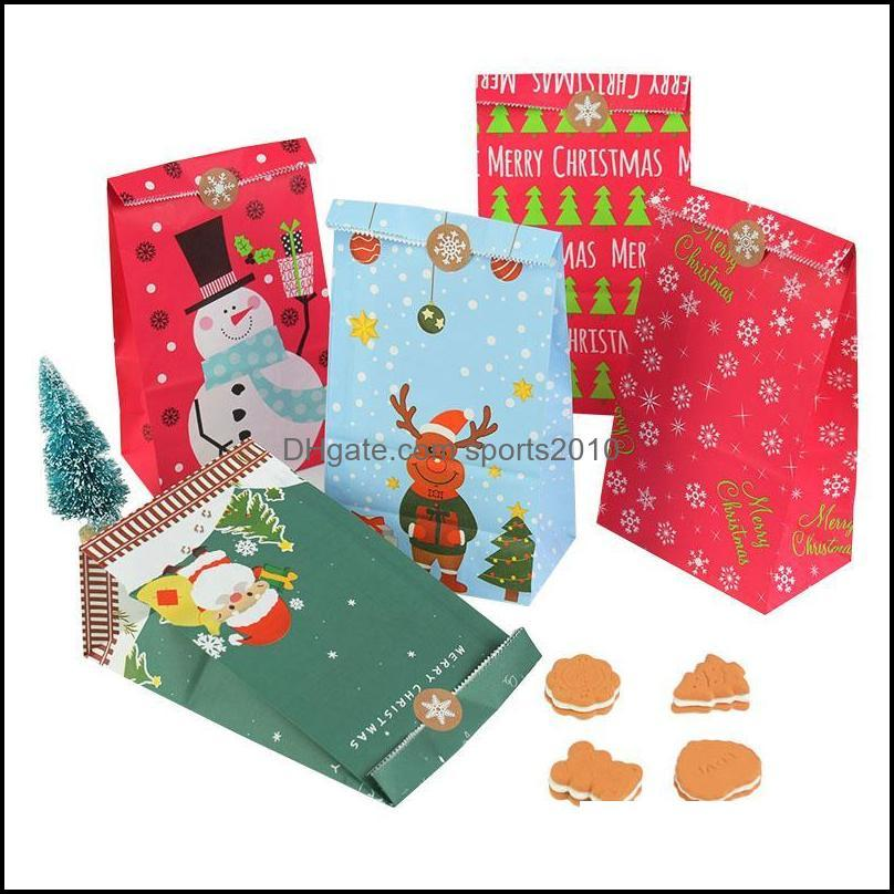 Gift Event Festive Supplies Home & Gardengift Wrap 10Pcs Christmas Candy Wrap Kraft Paper Bag Present Xmas Party Decorations Drop Delivery 2