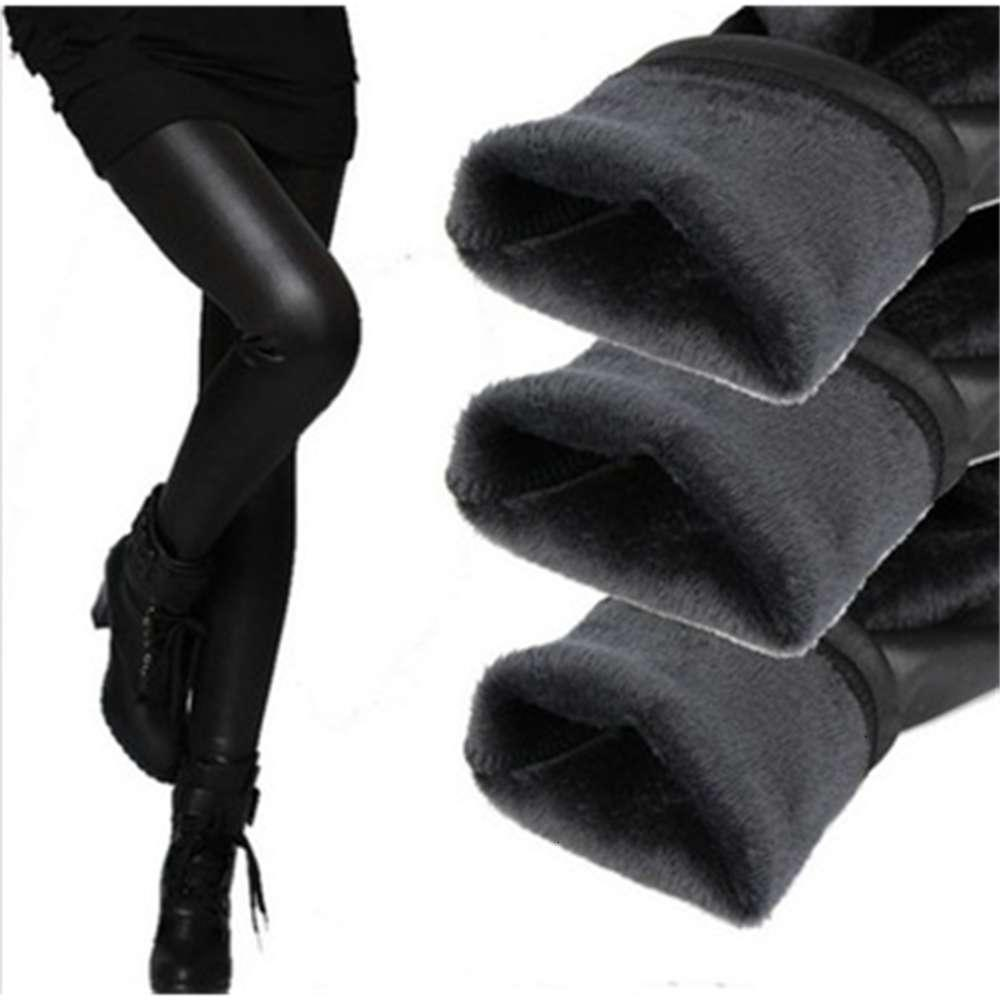 Оптовые - женские леггинсы осень зима легинги утолщение бархата черные кожаные леггинсы тощие брюки теплые для женщин leginsg