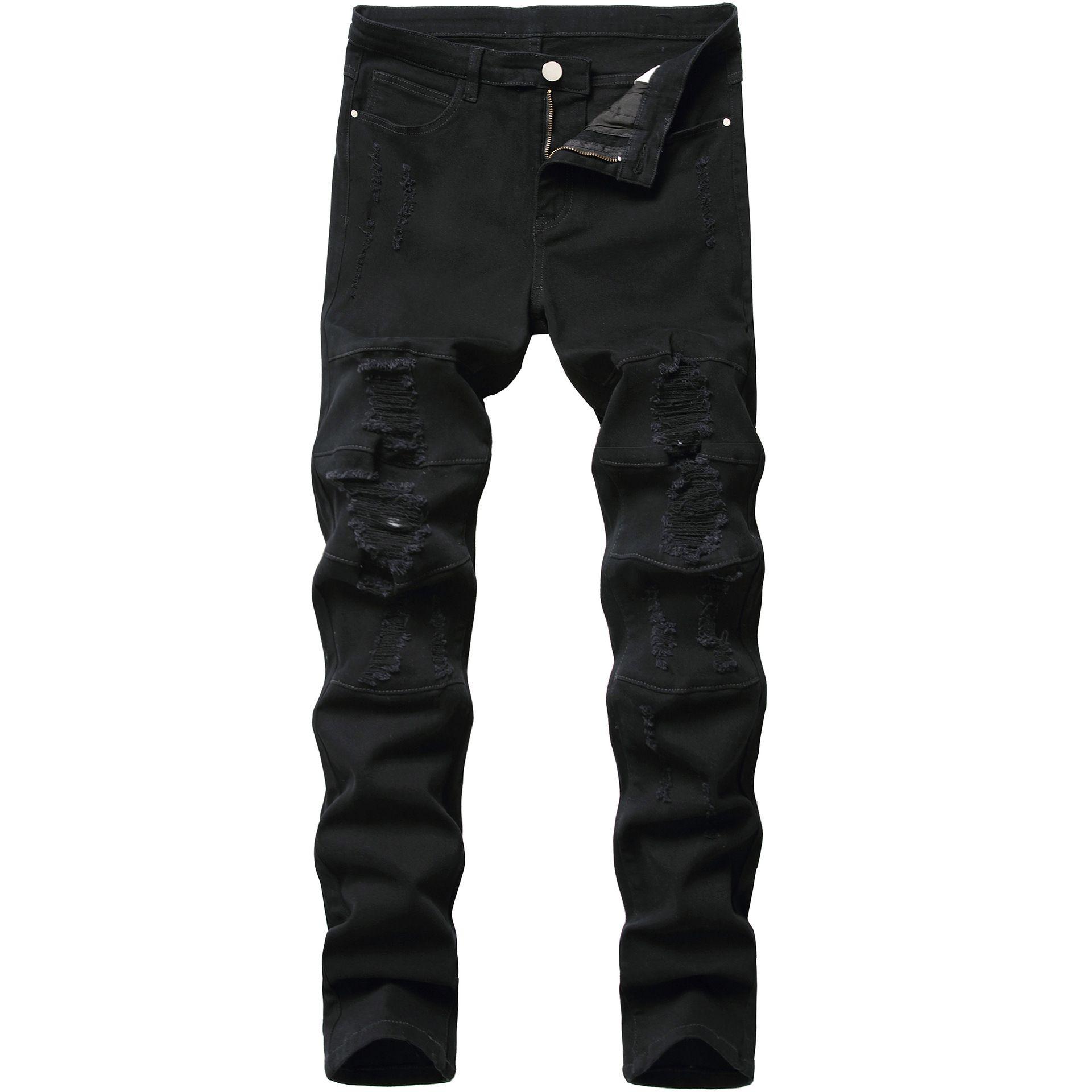 Mens jeans preto moda rasgado jeans calças skinny lápis calças calças calças buracos biker jeans jeans liso calças sólidas planas
