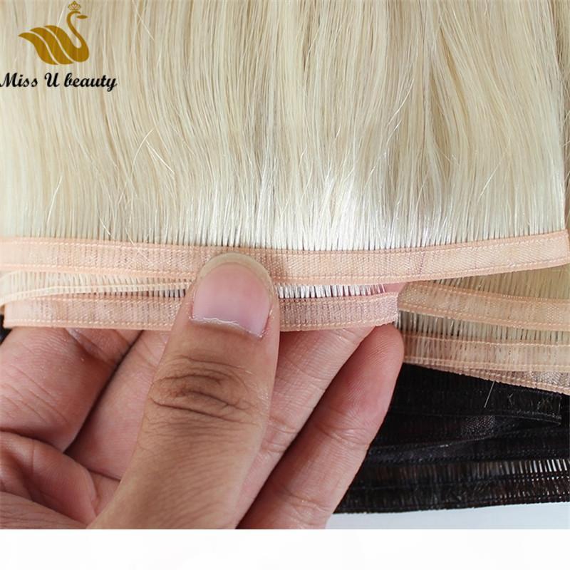Extensiones de cabello de trama plana rubia plata rubia platino rojo azul rosa color remy cabello humano cutícula alineado alineado pelo de alta calidad