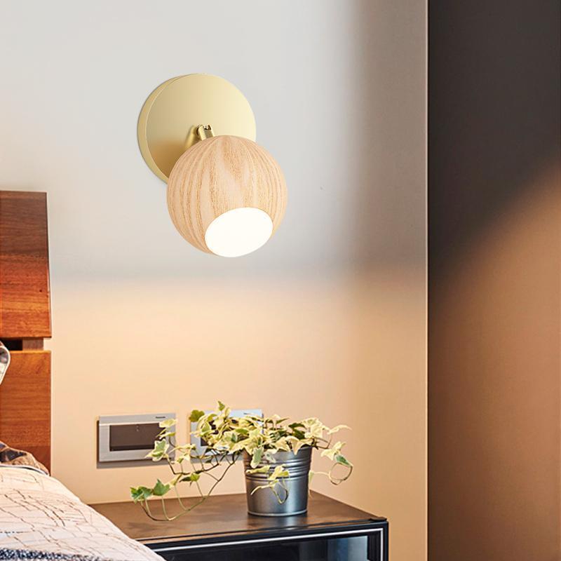 Holz LED Wandleuchte Nachttisch Modern Nordic Corridor Schlafzimmer Wohnzimmer Gänge Sconce Light Dressing Tischdekor Kunstvorrichtung