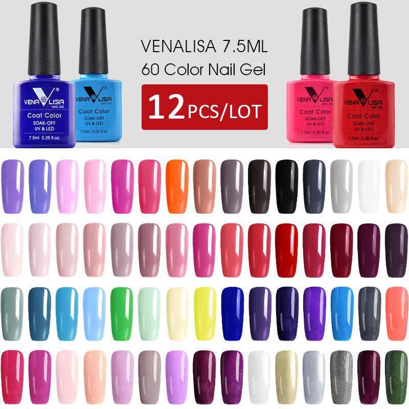 12 adet * 7.5 ml Venalisa Jel Vernik Hızlı Sevkiyat Orijinal Nail Art Manikür 60 Renkler Soak Off Jel Lake LED UV Jel Oje LED