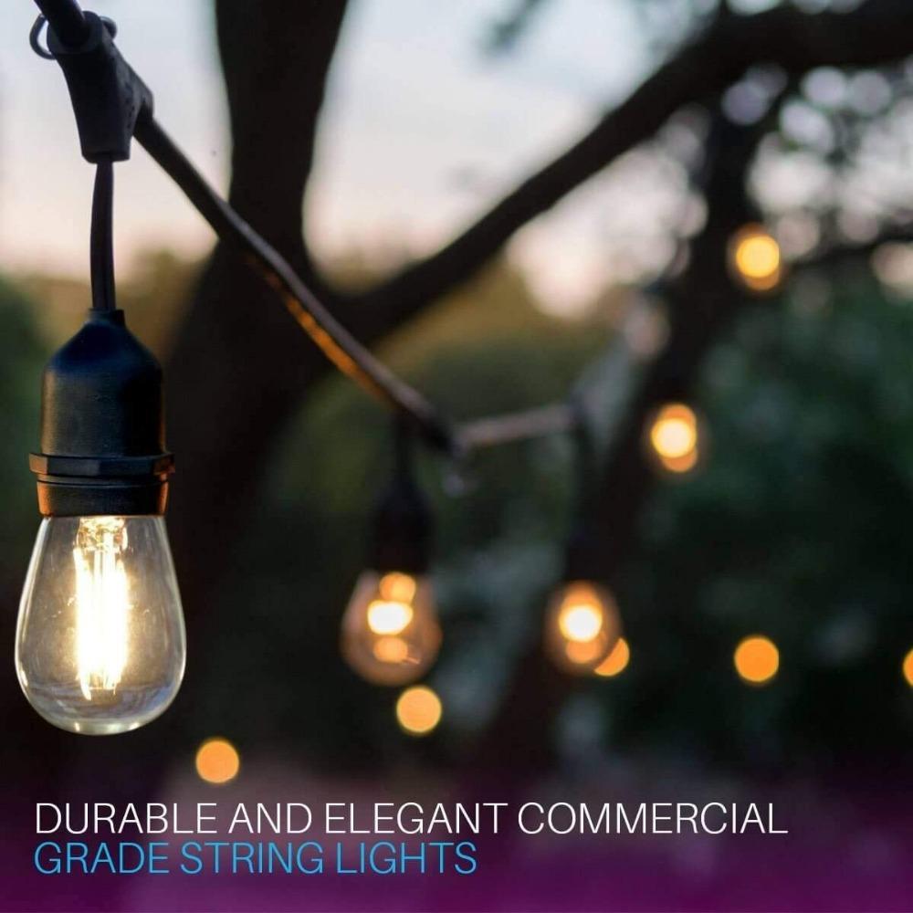 IP65 15 M LED S14 Dize Işıkları Su Geçirmez E27 Sıcak LED Retro Edison Filament Ampul Açık Sokak Bahçe Veranda Tatil Aydınlatma