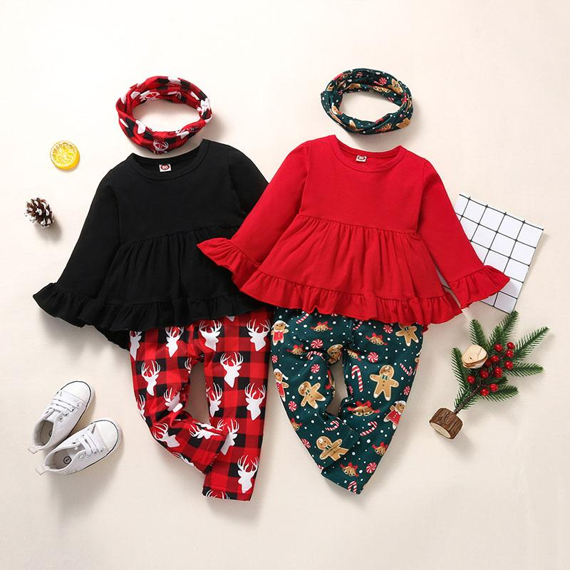 kids Clothing Sets girls Christmas outfits Children ruffle sleeve Tops+plaid Xmas deer print pants+scarf 3pcs/set Spring Autumn Fashion baby Clothes Z4314