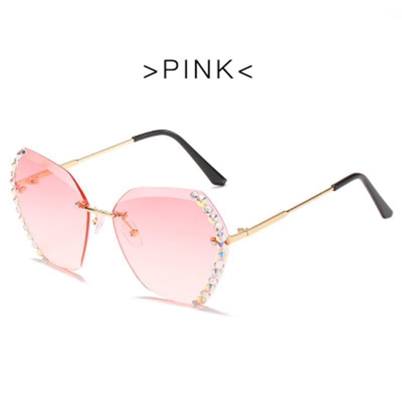 Солнцезащитные очки Мода Безрамня Алмазная Резка Линза Полигональная УФ Защита для Женщин Лето