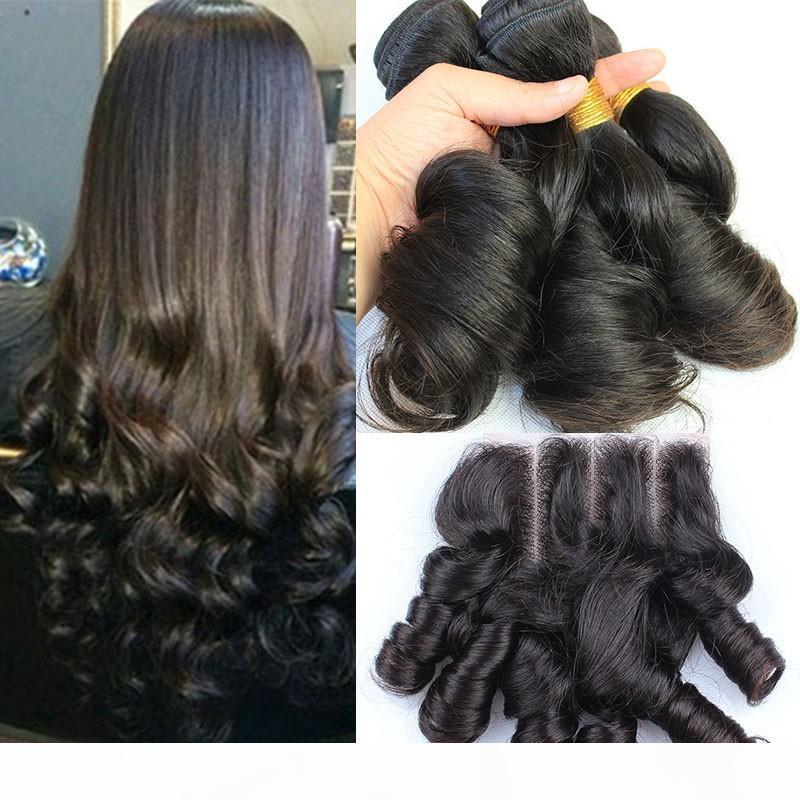 AUTTY FUNMI Brezilyalı İnsan Saç Ile 4 * 4 Dantel Kapatma Romantik Bukleler 3 adet Funmi İnsan Saç Demetleri Kapatma Ile 3 Yollu Bölüm 4 adetgrup