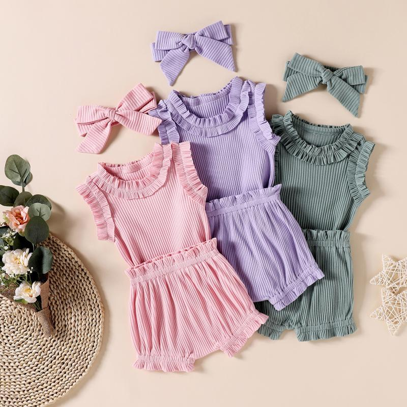 3-18 Months Spring Outing Set Infant Baby Girls Muebles con volantes Romper Body Shorts Headbands Outfits Vêtements Bébé Fille M4