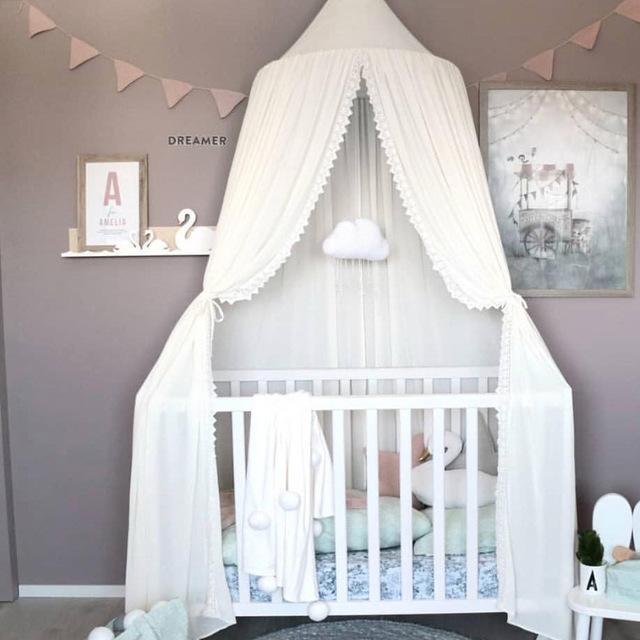 레이스 쉬폰 아이들과 아이 모기 그물 돔 침대 침대 침대 침대 침대 침대 cot netting 캐노피 커튼 플레이 텐트 룸 장식