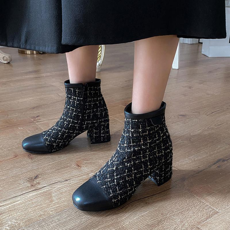 Bottes Ochanmeb Femmes Femmes Chaussures Tweed Chaussures Tigeaux Heels Square Toe Short Dames Femme Taille 12 46 Botas Mujer 2021