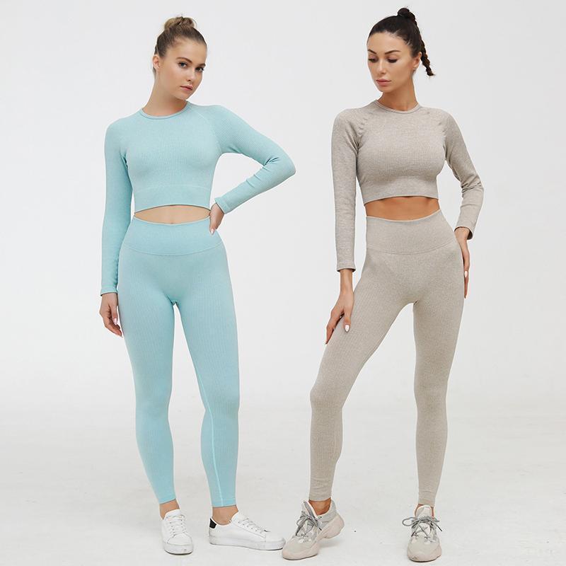 Ребристые бесшовные Yoga Set Спорт наряд для женской тренажерный зал Одежда Фитнес с длинным рукавом Урожай высотой высокой талии Леггинсы работает спортивная одежда