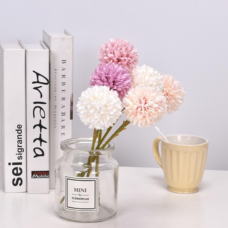 Imitazione a testa singola Fiori Dandelion Ball Chrysanthemum Fiore artificiale Home Soggiorno Decorazione Hun Qing Ying Lou Backg