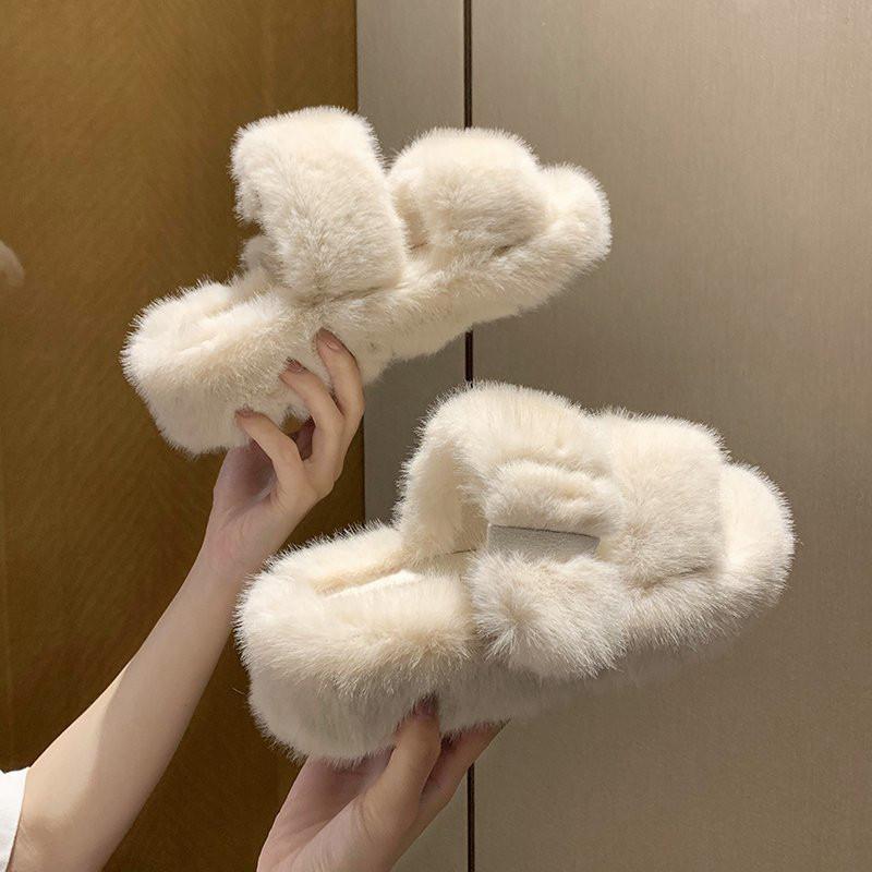 2021 Winter женские меховые тапочки платформы клин внутренняя каблука без скольжения резиновые подошвы слайды пряжка украшения модной обувь девушки дамы