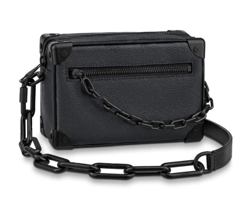 디자이너 소프트 트렁크 미니 체인 가방 정품 가죽 흑인 남성 소프트 박스 가방 패션 유니섹스 어깨 가방 럭셔리 여성의 메신저 가방 최고 품질의 핸드백