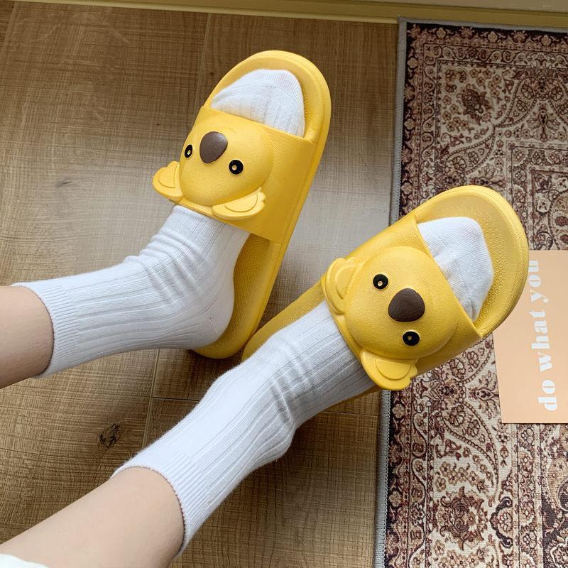Summer Pyples Shoes Women 2021 Carino Koala Toe Basso piattaforma flip flops per le donne Casa Indoor Flat Beach Slips