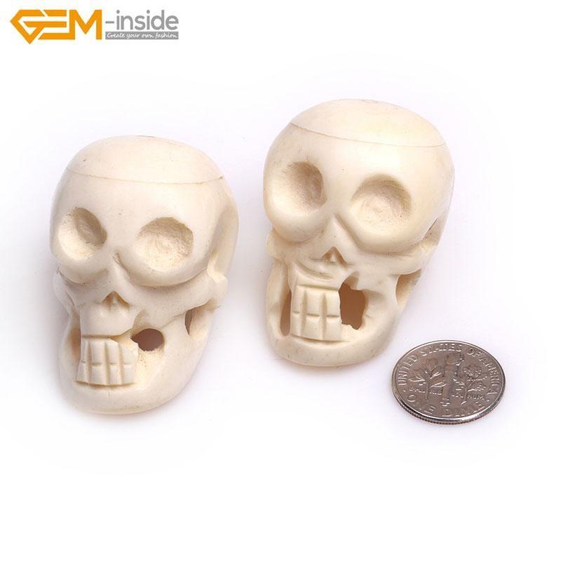 الأحجار الكريمة الأخرى داخل 33x42 ملليمتر 2 قطع كبيرة كبيرة منحوتة العظام الجمجمة الخرز ل هالوين مجوهرات صنع الديكور المجال بالجملة diy