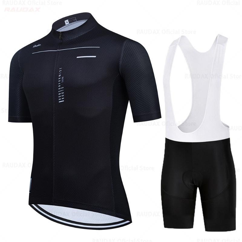 Raudax 2021 Summer manches courtes vélo Vêtements Vélo Cyclisme Jerseys Ensemble Classic Black Hommes Ropa de Ciclismo Respirant