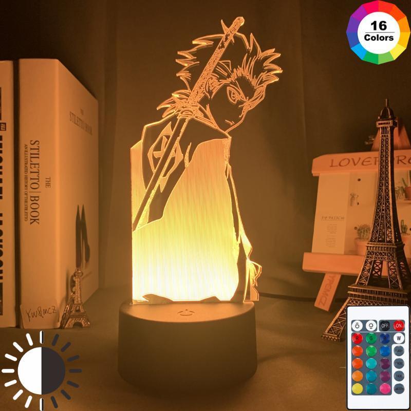 Gece Işıkları 3D Lamba Anime Bleach Işık Yatak Odası Dekorasyon Nightlight Için Serin Doğum Günü Hediyesi Akrilik LED