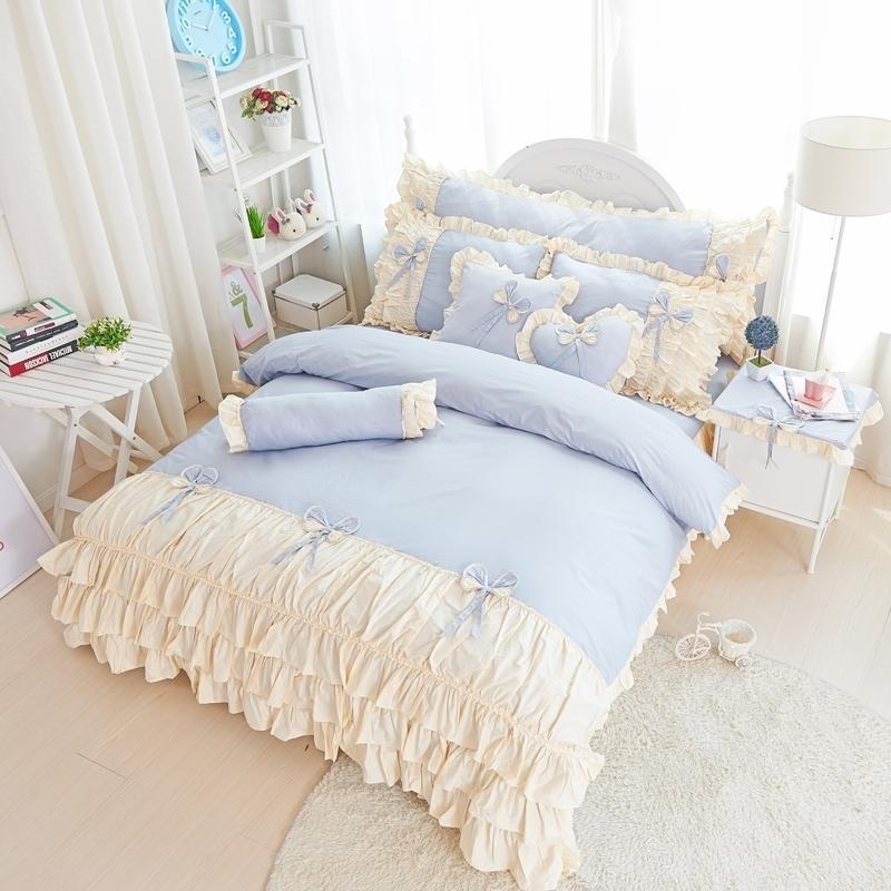 Bedding Sets Korea Style Girls Set King Queen Twin Size 100% Cotton Pink/Purpe Princess Duvet Cover Bed Pillowcases Skirt 4/6Pcs