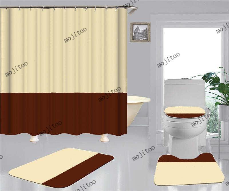빈티지 프린트 샤워 커튼 4pcs 정장 방수 미끄럼 방지 화장실 매트 패션 홈 욕실 커튼 액세서리