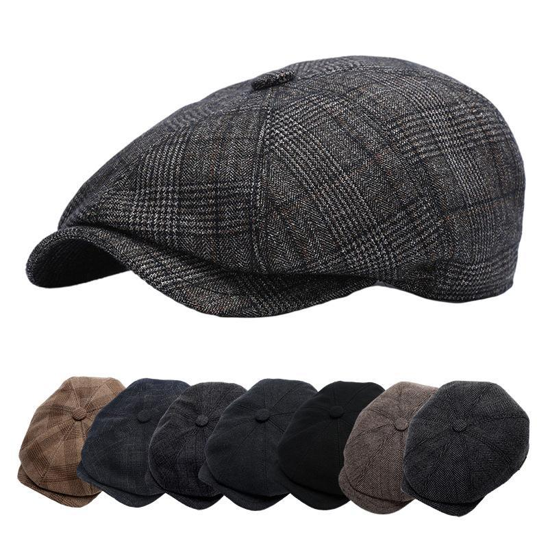Berets Same MAN HAT BERET Wool Boina Sboy Cap Octagonal Hats For Male Autumn Winter Spring Warm Protect Ear