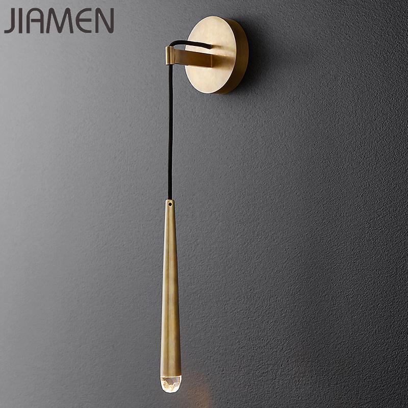 Jiamen Modern Lüks Altın / Siyah Duvar Lambası LED Kristal Duvar Aplik Işık Fikstürü Kapalı Yatak Odası Başucu Ev Dekor Loft Armatür