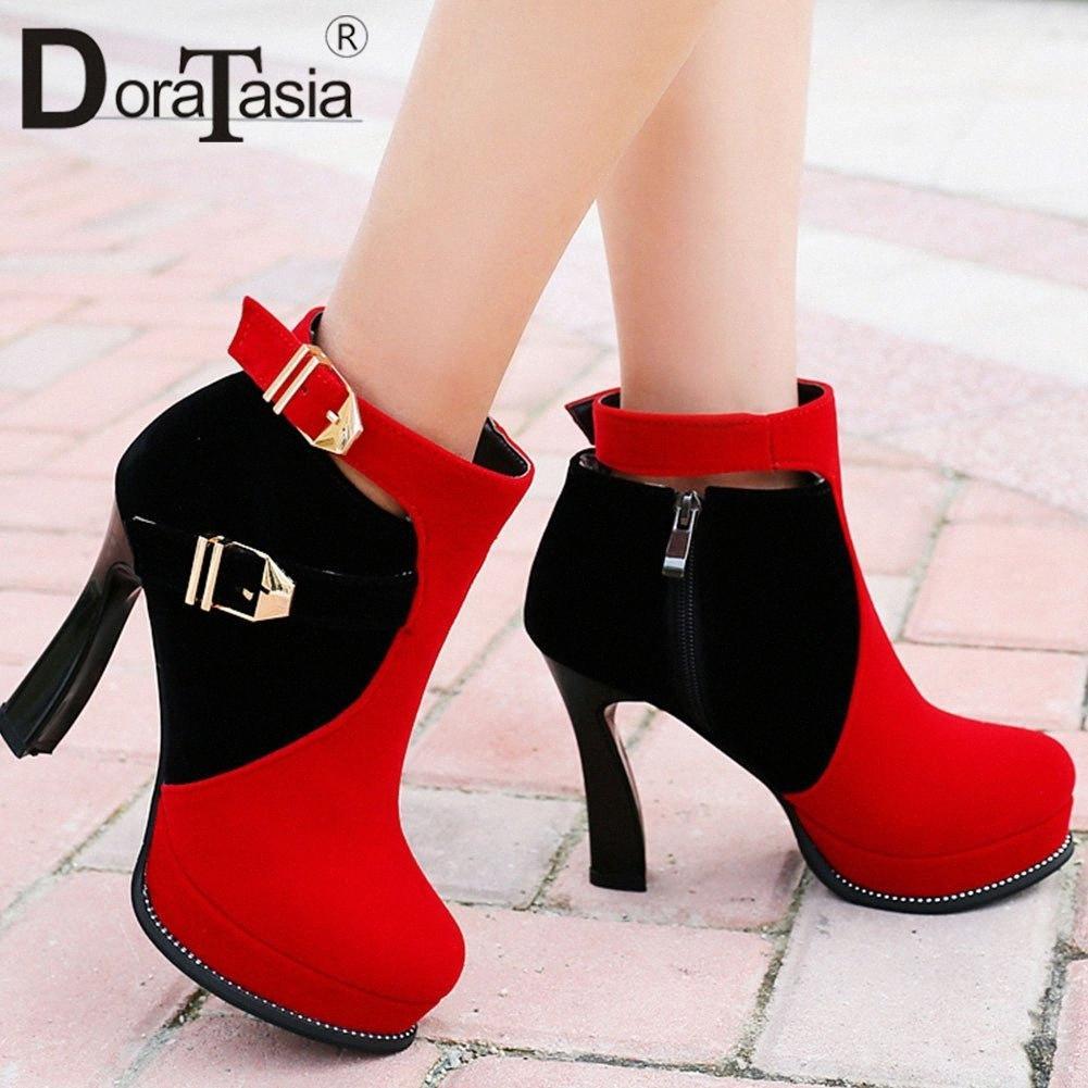 Doratasia 33 43 New Fashion Belt Fibbia Ladies Tacchi alti Stivali Donne Colori misti Piattaforma Stivaletti Stivaletti Party Shoes Sexy Scarpe Donna R05Q #