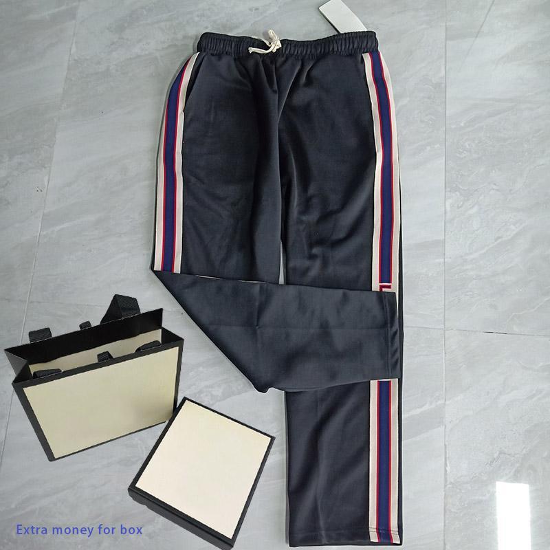 21ss мода повседневные мужские брюки модные и универсальные черные спортивные штаны с письмерыми полосами свободно падение прямых брюк