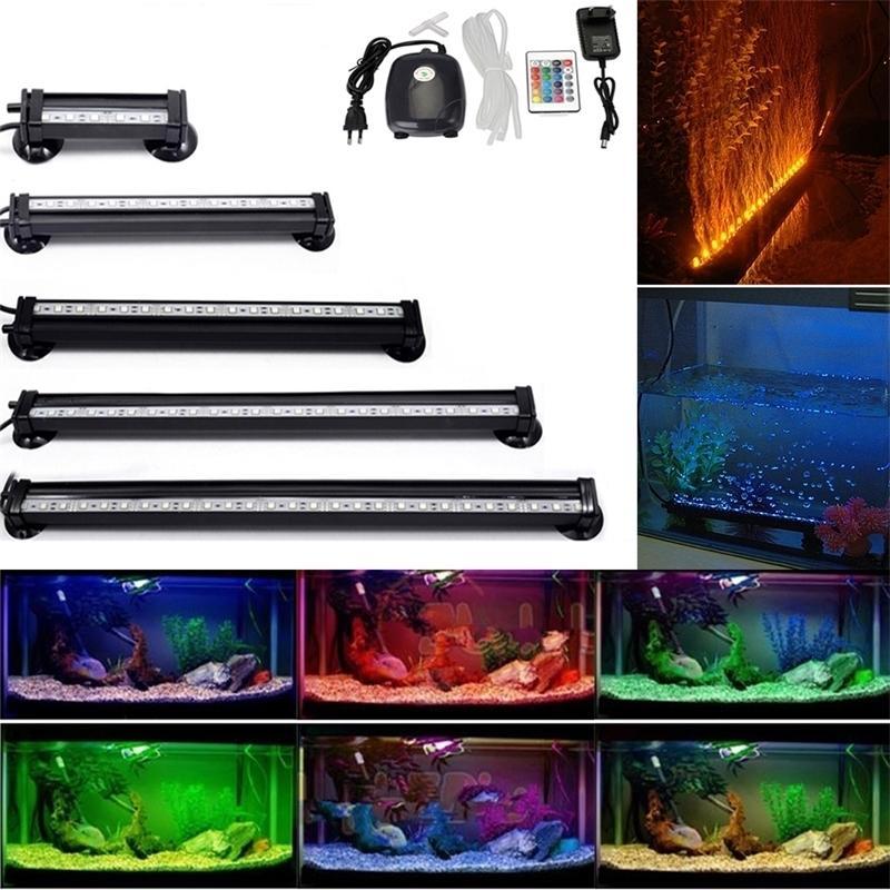 Fiche UE Fiche sous-marine Aquarium Air Tank Tank Air Lampe 5050 RGB LED Lampe submersible + Augmente Pompe à air d'oxygène + Remote IR Y200917