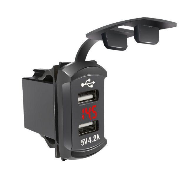 Caricabatterie da auto in stile rocker 12 / 24v 4.2a con doppia porte USB e voltmetro