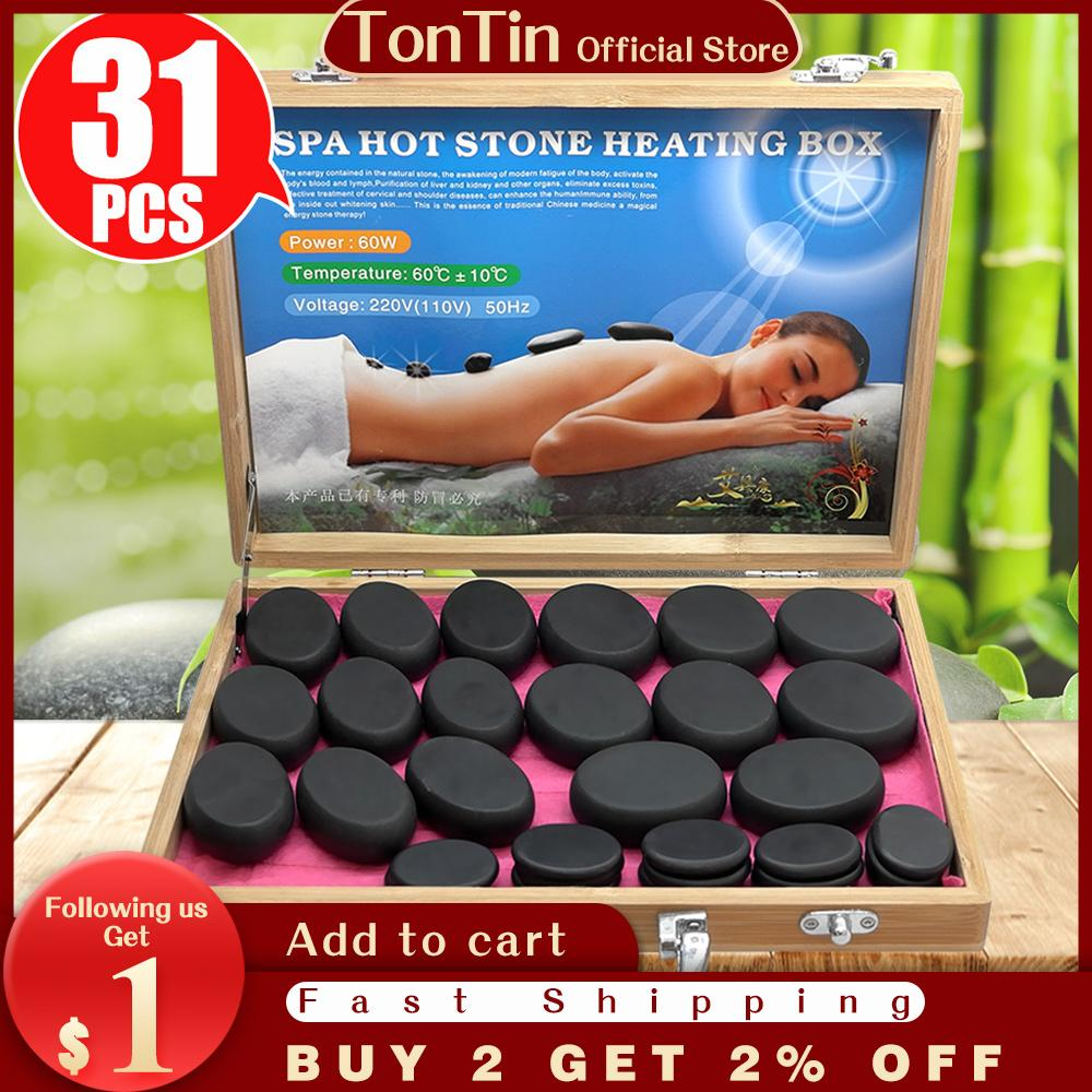 Tontin 31 adet / takım Sıcak Taş Masaj Seti Aracı Bazalt Masaj Taşları 220 V / 110 V Bambu Isıtıcı Kutusu CE RoHS Yuvarlak Taş Masaj