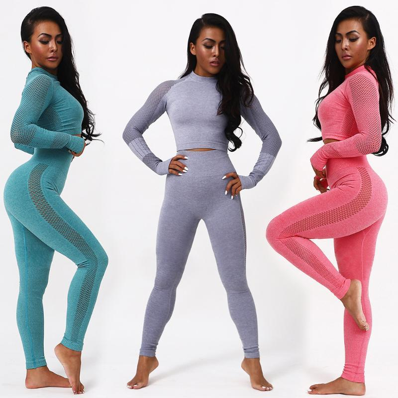 Trajes de yoga 2 unids / set Women Sport Sport Traje Sistema Gimnasio Entrenamiento Ropa de manga larga Fitness Cult Top + High Cintura Energía