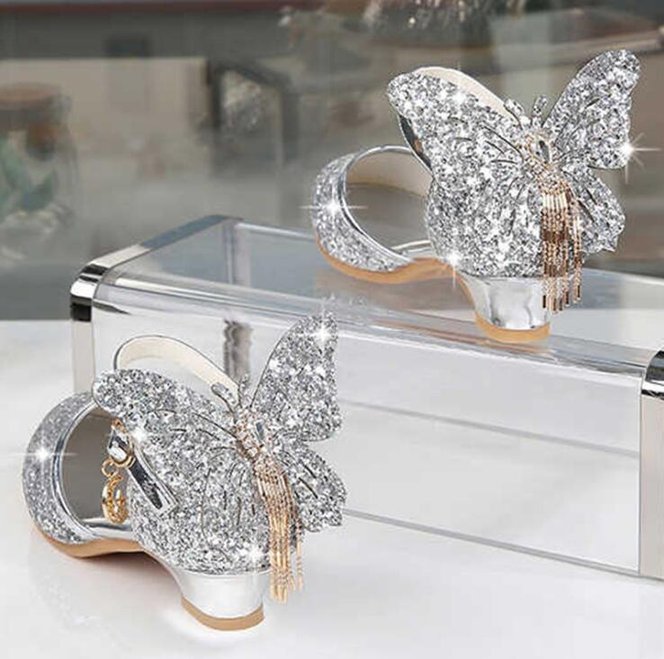 Princess Kids Leather Shoes For Girls Glitter Butterfly Knot Dress Party Children High Heel Csuals Shoe For kids Pink Silver Y200619