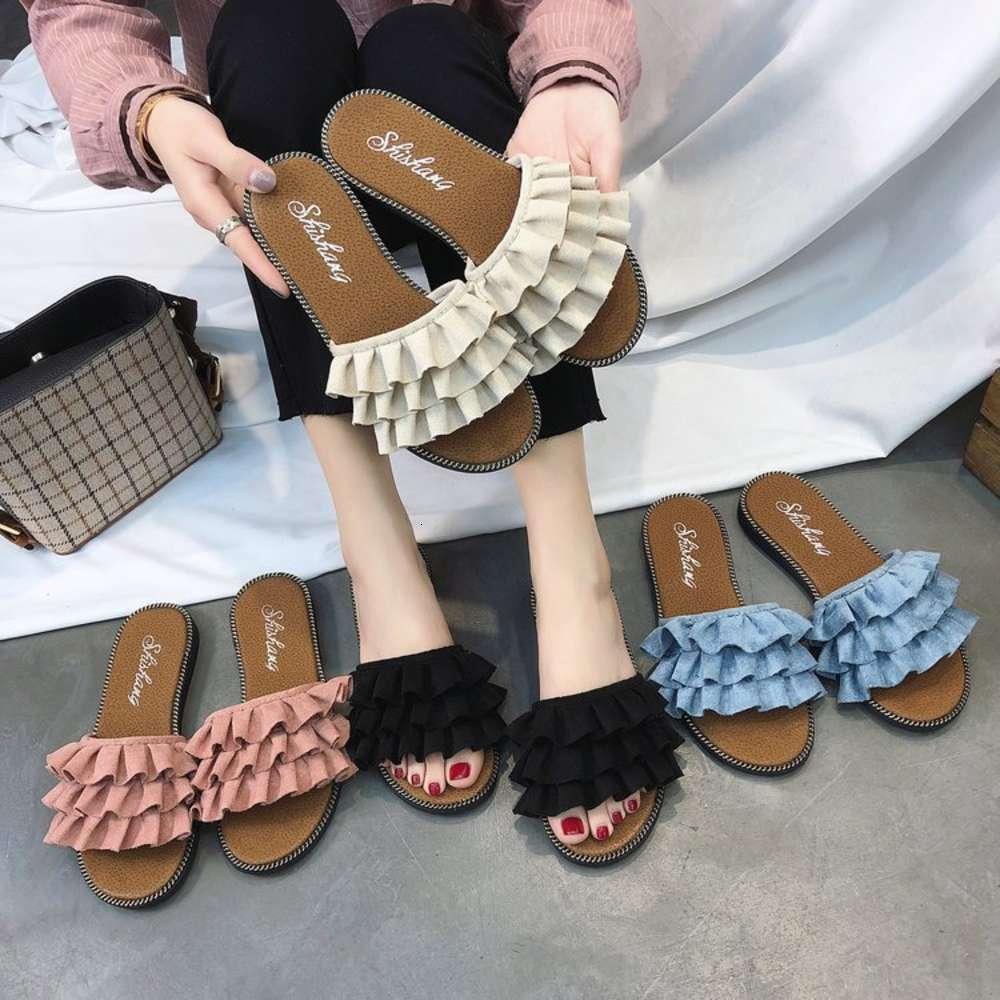 Floplar kadın yaz düz alt 2020 yeni flip flop dantel sandalet