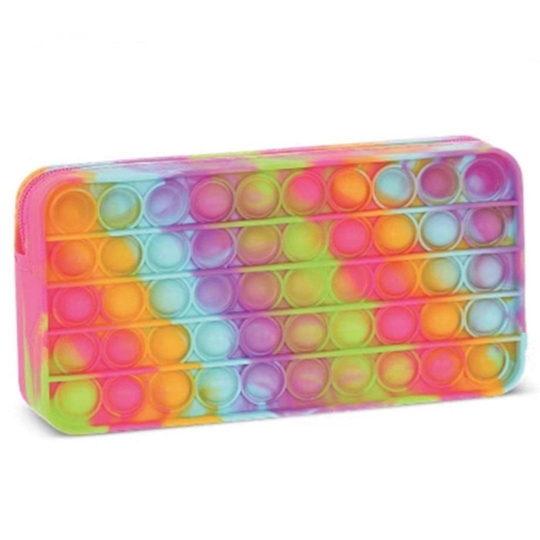 Silicone arco-íris bolha lápis saco caso festa festa simples covinho dedo brinquedos de descompressão alívio interactive escola bolsas gwf9136