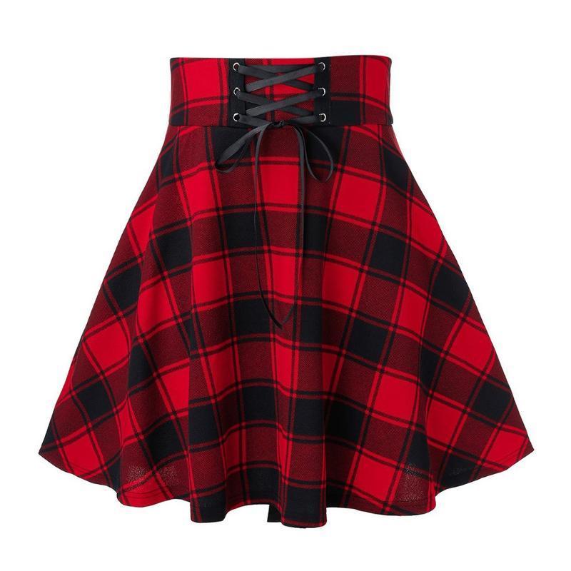Röcke Frauen Rock Sexy Plaid A-line Mode Lässig Gitterdruck Spleißen Frenulum Mini Womens Hohe Taille # 0318
