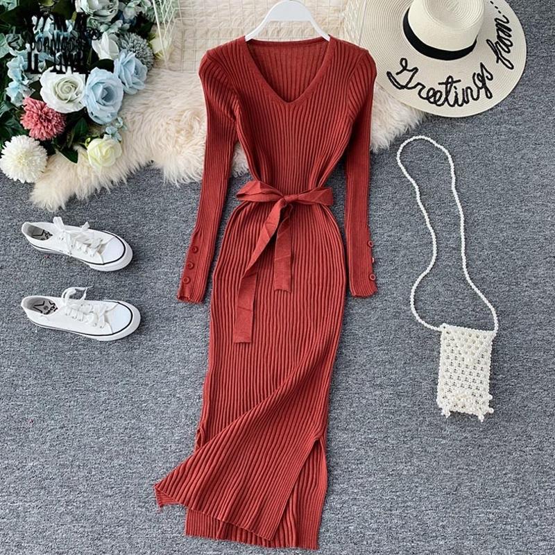 Yornmona Zarif V Boyun Bölünmüş Midi Elbise 2021 Sonbahar Kış Kadın Örme Kazak Elbise Düğmesi Uzun Kollu Sashes Bodycon Elbise 210303