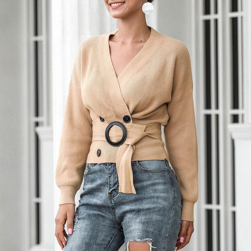 Zoki Elegante Frauen Cardigan Pullover Mode Gürtel Herbstgestrickt Zweireiher Langarm Tunika Mantel Sexy V-ausschnitt Schwarz Top 210218