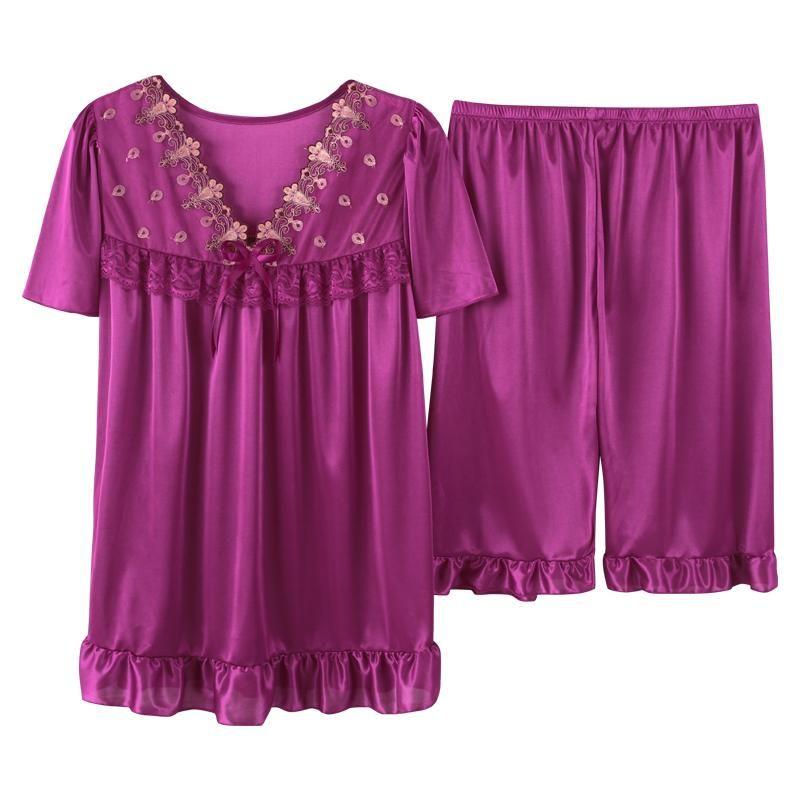 2021 Femmes Summer Plus Taille Soie Tête de nuit Femme Grande Taille Courte Sleeve Dentelle Sleepwear Homewear Robe de loisirs M-5XL V-Col V