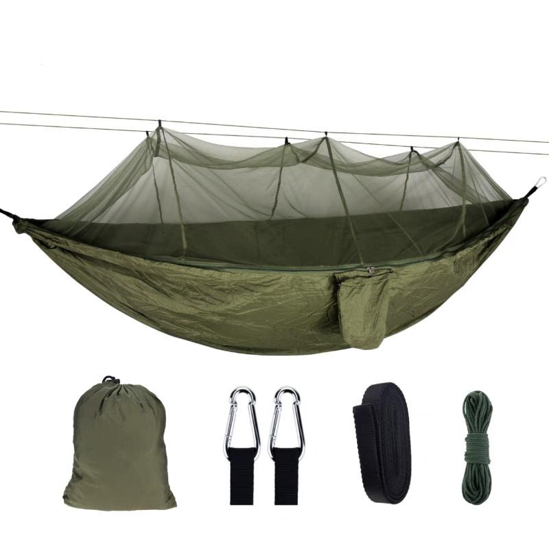 Muebles de campamento Camping Hamaca Mosquitera Net Portátil Portátil Paracaídas al aire libre Cosas de alta resistencia Tela Colgante Cama Caza Swing Swing
