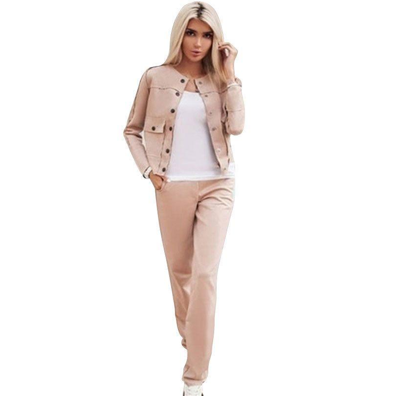 Pantalon de dame de dame de daim de MVGirlru pour femmes élégantes Veste et pantalon 14qv