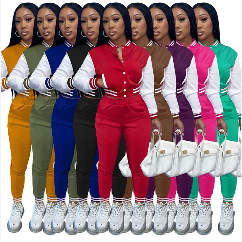 여성 Tracksuits 두 조각 세트 디자이너 가을 야구 제복 재킷 스웨트 팬츠 슈트 슈트 조깅 팬츠 Varsity 정장 9 색