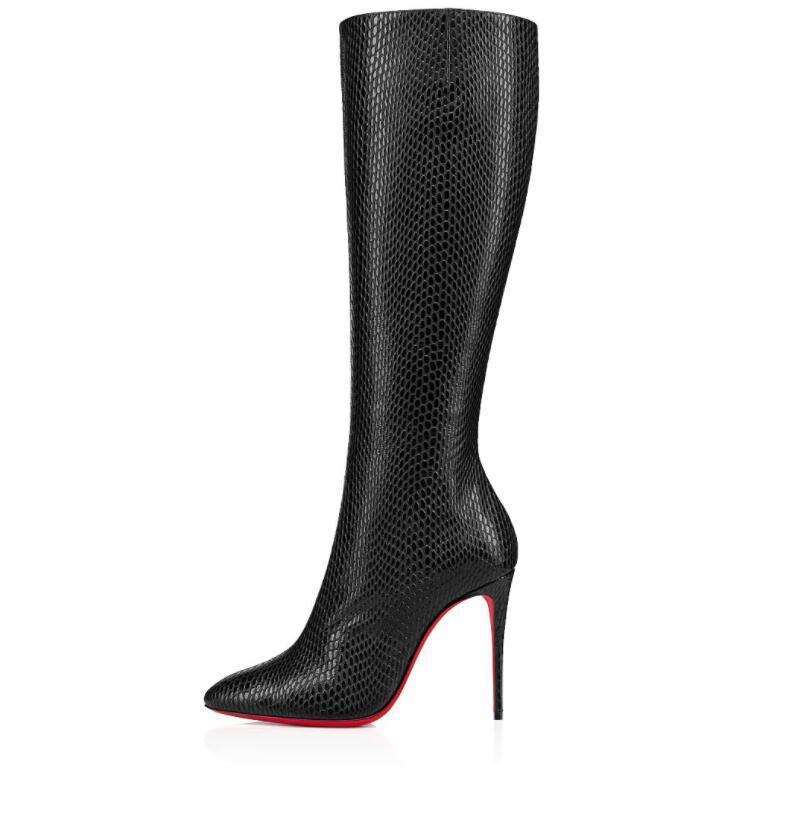 2021 Zarif Kış Markaları kadın Uzun Çizmeler Kırmızı Alt Eloise Botta Bayan Booty Ünlü Elbise Partisi Kırmızı Sole Diz Patik Üzerinde