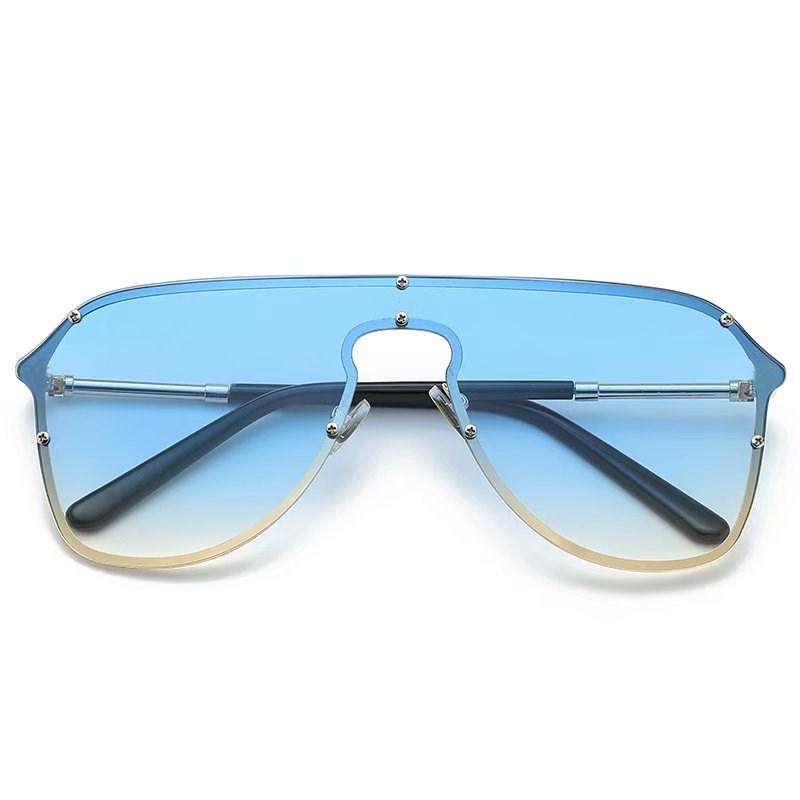 2021 Benzersiz Boy Güneş Erkekler Vintage 2019 Tek Parça Lens Sarı Kırmızı Büyük Güneş Gözlükleri Büyük Çerçeve Kadın Rüzgar Geçirmez UV400 Promosyon 8802
